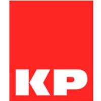 logotipo de alfombras KP banda con fondo rojo
