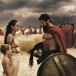 Escena de la película 300. Leónidas se despide de la familia